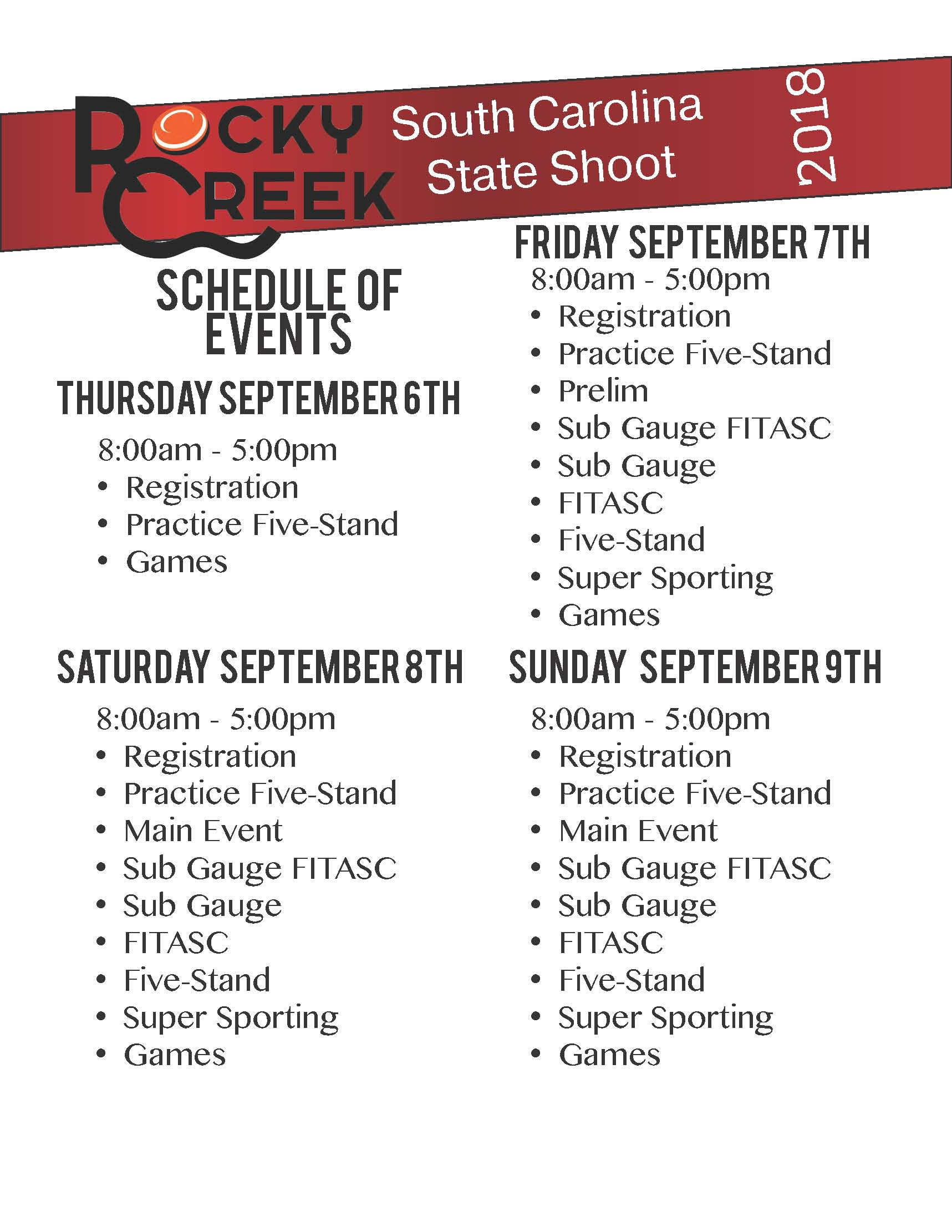 2018 State Shoot Schedule PDF 1 Page 1